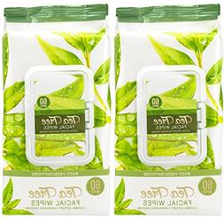 Body Prescriptions -2 Pack  Tea Tree Facial Cleansing Wipes