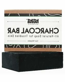 Charcoal Black Soap Bar with Shea Butter for Face, Acne, Bla