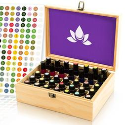 Essential Oil Box - 35 Slots. Fits Tall Roller Bottles. Seal