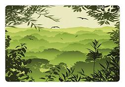 Lunarable Forest Pet Mat for Food and Water, Forest Scenery
