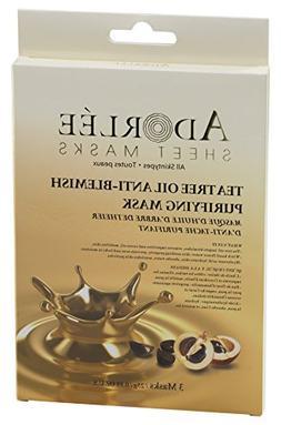 ADORLÉE Tea Tree Oil Anti-Blemish Mask, Pack of 3