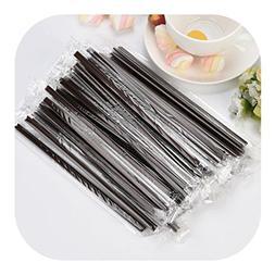 Molyveva Black Plastic Straws - Pack of 100 Individually Wra