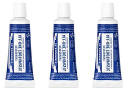 Dr. Bronner's Peppermint Travel Toothpaste 3 Pack. Fluorid