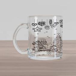 cb8c70eee6a Ambesonne Christmas Glass Mug, Tree Ornaments with Santa Sle