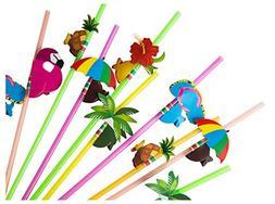 100-Piece Disposable Drinking Straws - Hawaiian Luau Party C