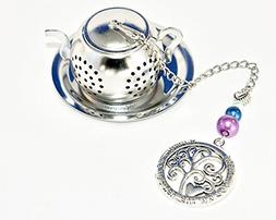Family Tree Tea Charm Infuser with Purple and Blue Beads