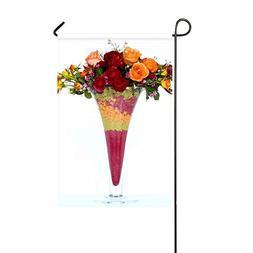 ZLU Garden Flag Roses Carnations Tea Tree Bouquet Vase 12x18