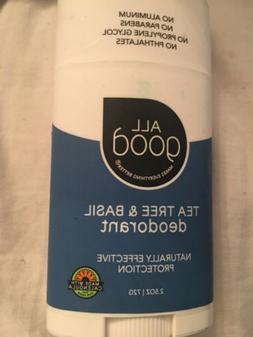 All Good Deodorant Tea Tree & Basil Elemental Herbs 2.5 oz S