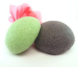 Premium Konjac Face Sponges - Soothing Green Tea and Cleansi