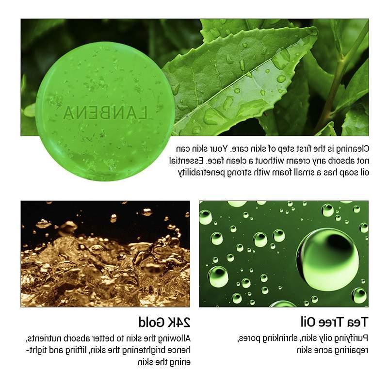 LANBENA 24K Handmade <font><b>Soap</b></font> <font><b>Tea</b></font> <font><b>Tree</b></font> Facial Cleansing Acne Remover