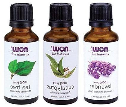 3-Pack Variety of NOW Essential Oils: Tea Tree, Eucalyptus,