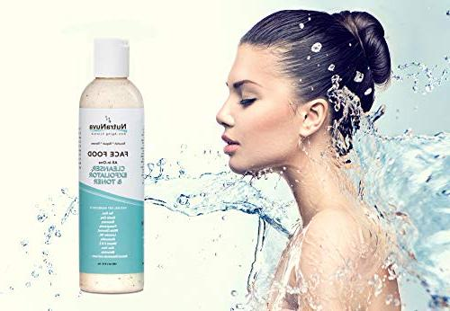 NutraNuva Cleanser, Toner All-in-One – Clear Natural VEGAN Facial Wash, Tea Tree & Gentle Clean Aging, Not Drying/Oily, Fight
