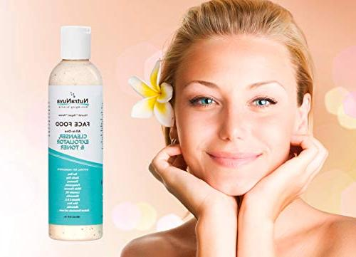 NutraNuva Face Cleanser, Exfoliator & All-in-One – Natural VEGAN Tea Gentle Clean Not Drying/Oily, Fight