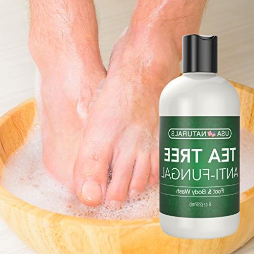 Antifungal Tea Tree Body Wash Wash Odor, Toenail Fungus Itch Eczema & Skin Irritations-Premium Anti-fungal Soap