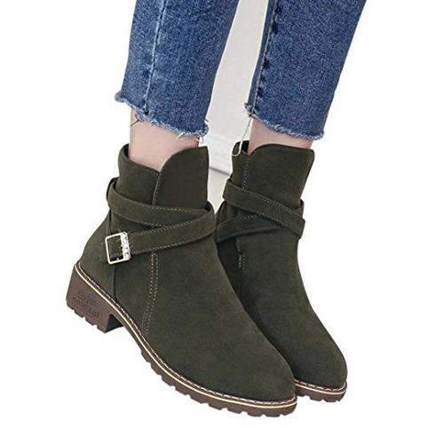 a3e2e8a7b YJYDADA Boots,Women Buckle Ladies Faux Warm Boots Ankle Boots Middle Heels  Martin Shoes