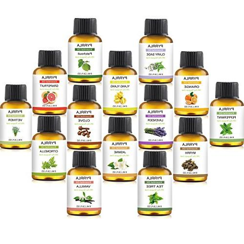 Essential 14-8 ml Therapeutic Pure Ylang,Lavender,Jasmine,Orange,Peppermint,Grapefruit,Clary Sage,Clove,Citronella,Vanilla,Vetiver,Myrrh,Patchouli