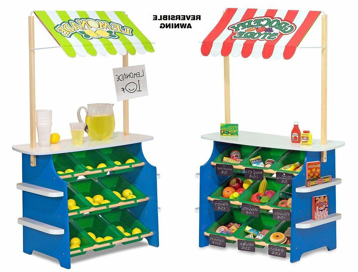 Wooden Grocery Store Stand Toy Activity Center