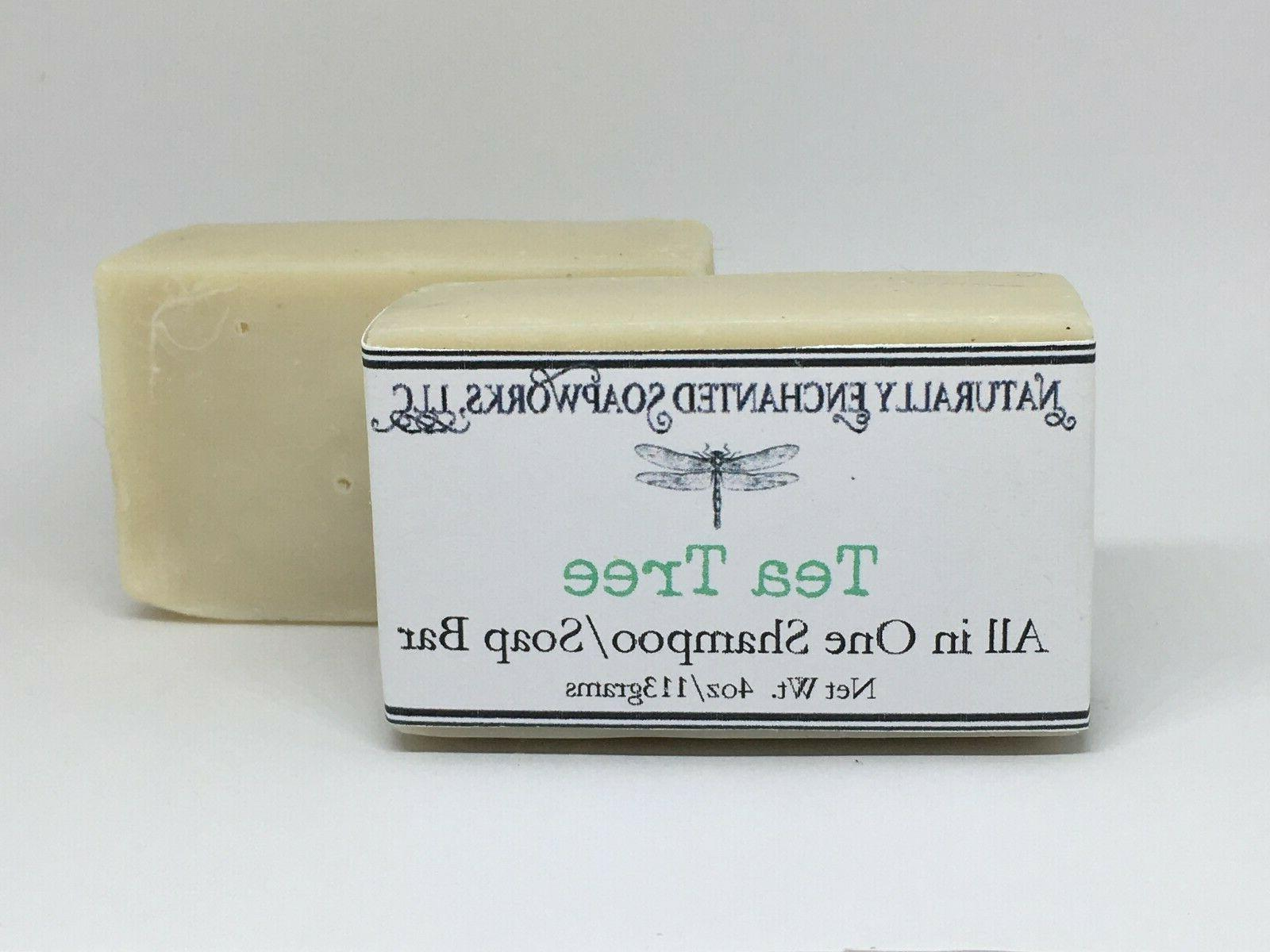 Tea tree all in one Soap Shampoo Bar, Natural Handmade Soap,