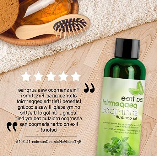 Tea Tree Peppermint Shampoo and Jojoba Color Safe and Free Kids, and Men - 100% Money-back Guaranteed and USA Made By