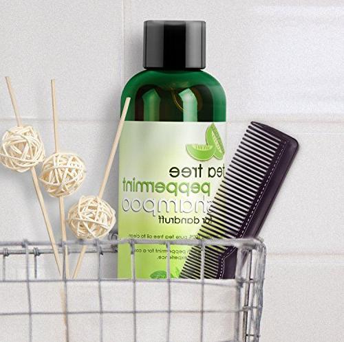 Tea Tree Peppermint Moisturizing Shampoo and Jojoba - Color Safe and Free for and Men 100% Money-back Guaranteed and USA Made Honeydew