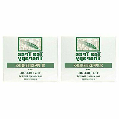 Tea Tree Therapy Vaginal Suppositories with Oil 2-Pack of 6
