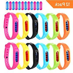 Mosquito Repellent Bracelet, 12 Pack 100% Natural Travel Ins