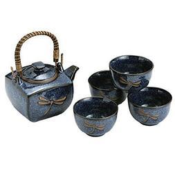 M.V. Trading MV64N Japanese Blue Dragonfly Tea Pot and Tea C