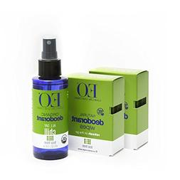 EO Organic Aluminum Free Deodorant Spray and Wipes Combo Pac