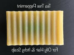 Organic Natural Tea Tree Peppermint Shampoo Soap Bar For Oil
