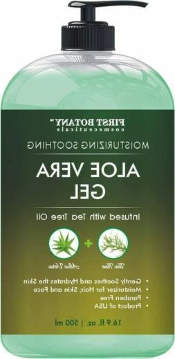Pure Organic Aloe Vera Gel w Tea Tree Oil Soothing Moisturiz