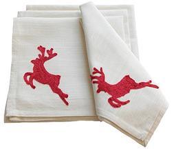Xia Home Fashions Reindeer Crewel Embroidered Christmas Napk
