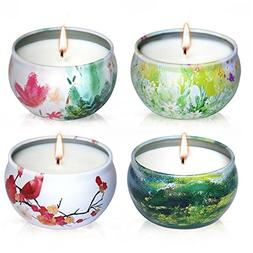 Scented Candles Lavender, Rose, Tea Tree and Peppermint,Natu