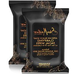 2 Pack SheaMoisture African Black Soap Cleansing Facial Wipe