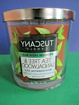 Tuscany Candle TEA TREE & SANDALWOOD 3-Wick SOY Glass Jar Ca