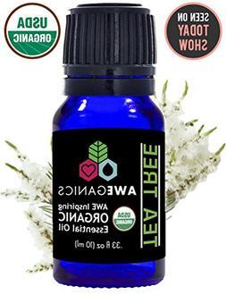 Aweganics Pure Tea Tree Oil USDA Organic Essential Oils, Pre