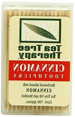 Tea Tree Therapy Toothpicks, Cinnamon, 100 Count