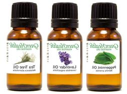 15 ml Peppermint, Lavender, Tea Tree Oil - Top 3 Essential O